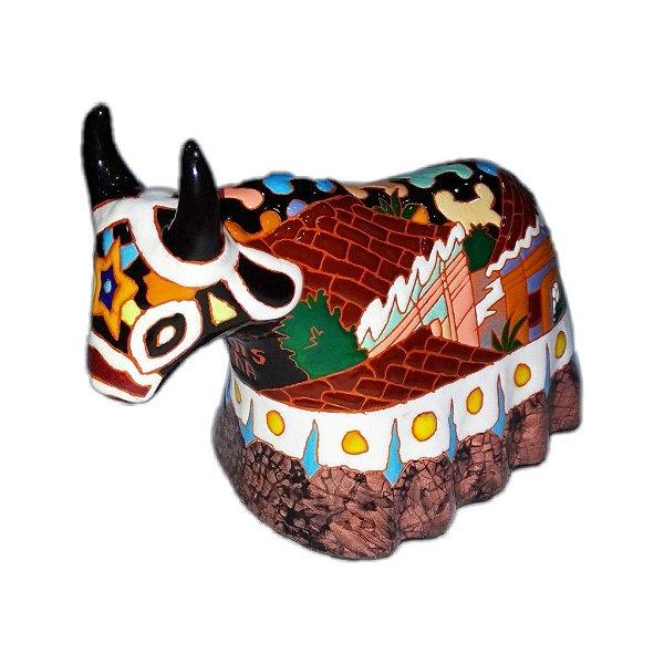 Boi em cerâmica esmaltada G -MA