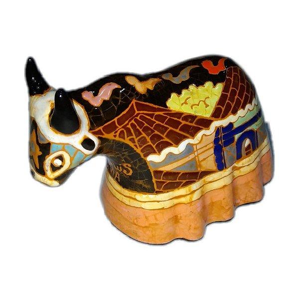 Boi em cerâmica esmaltada M -MA