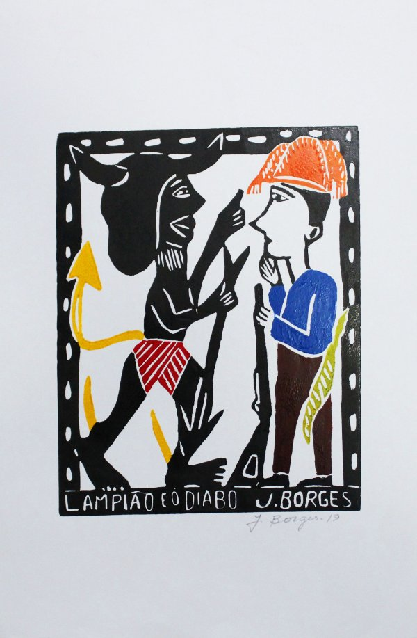 Xilogravura J.Borges Lampião e o Diabo M - PE