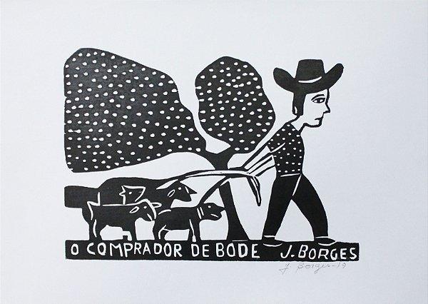 Xilogravura J.Borges O comprador de bode M - PE