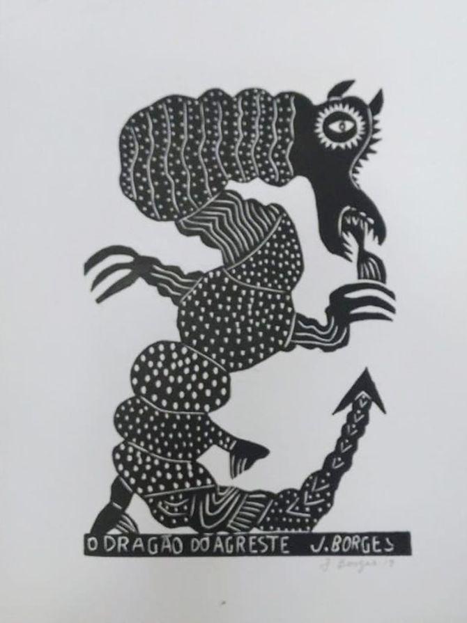 Xilogravura J. Borges O Dragão do Agreste G - PE