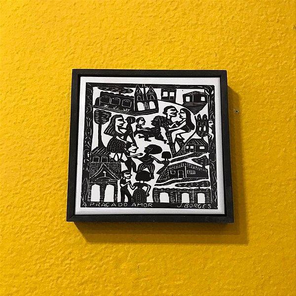 """Quadrinho Xilogravura """"A Praça do Amor""""  J. Borges - PE"""