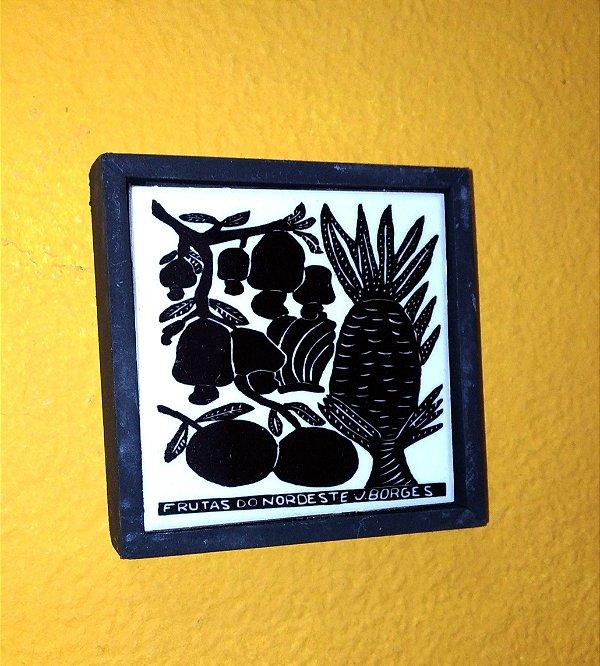 """Quadrinho Xilogravura """"frutas do nordeste """" P J. Borges - PE"""