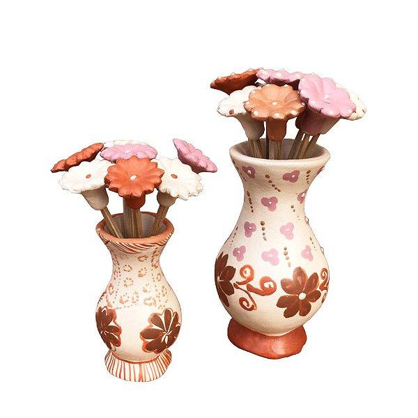 Par de vasinhos branco floral - Eva Ferreira
