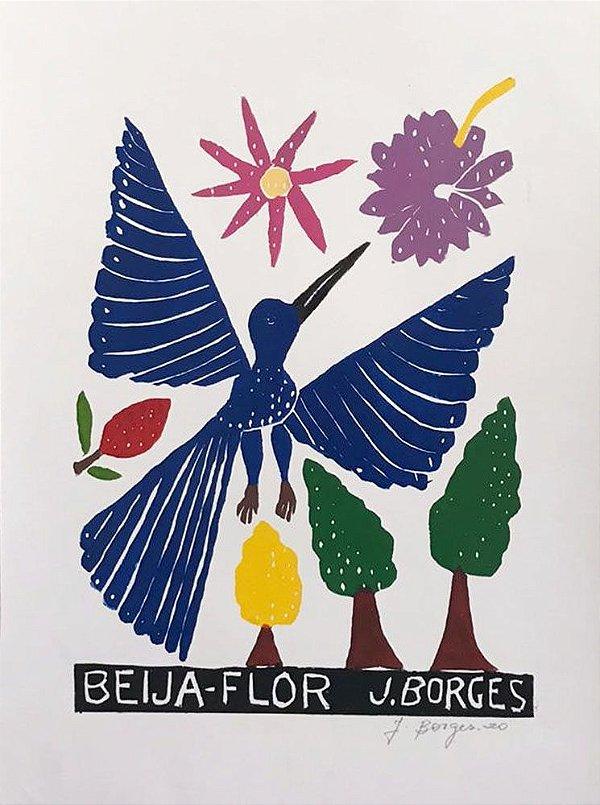 Xilogravura J.Borges Beija Flor M - PE