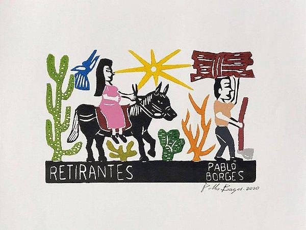 "Xilogravura ""Retirantes"" P - Pablo Borges -  PE"