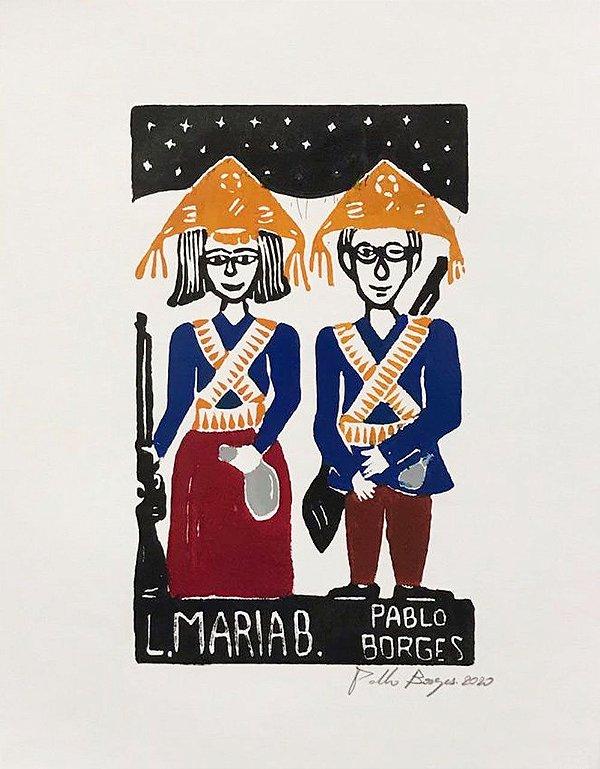 "Xilogravura  ""Lampião e Maria Bonita"" P - Pablo Borges - PE"