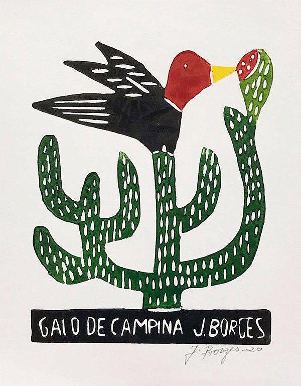 Xilogravura J. Borges Galo de Campina P - PE