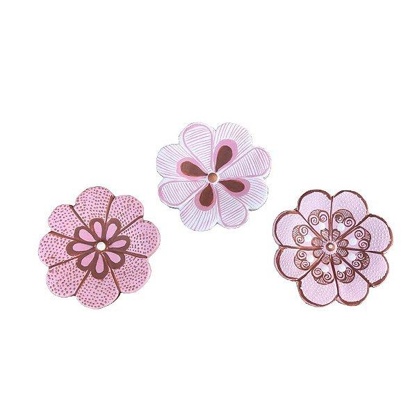 Trio Flores de parede PP - Roberta - Vale do Jequitinhonha - MG