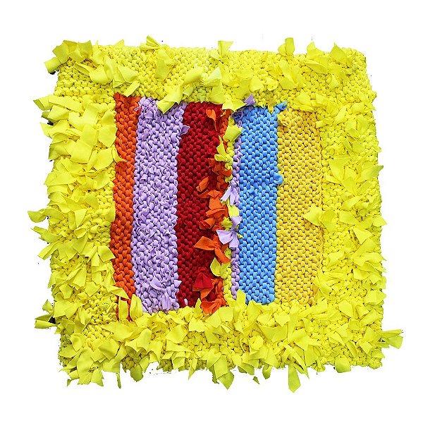Capa de almofada amarela de retalho 50 x 50 - PE