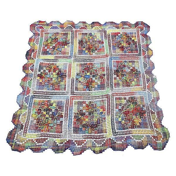 toalha renda de filé quadrada colorida 1,50 x 1,50 - CE