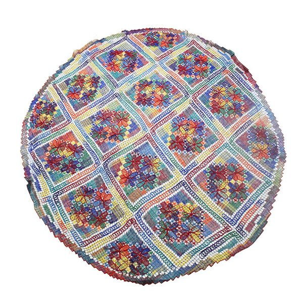 toalha renda de filé redonda colorida 1,80  - CE