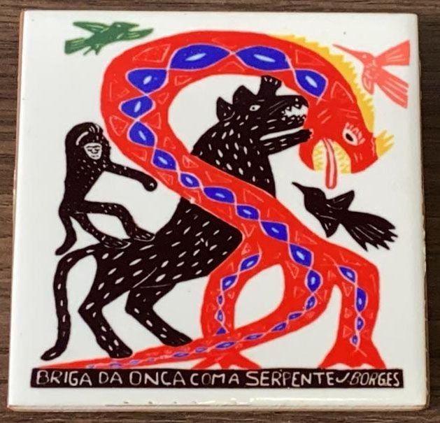 """Azulejo Color """"Briga da Onça com a Serpente"""" do J. Borges P - PE"""