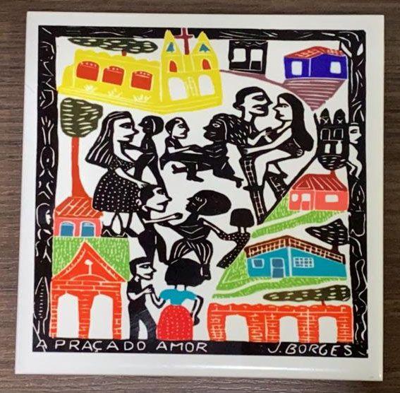 """Azulejo """"A Praça do Amor"""" do J. Borges M - PE"""