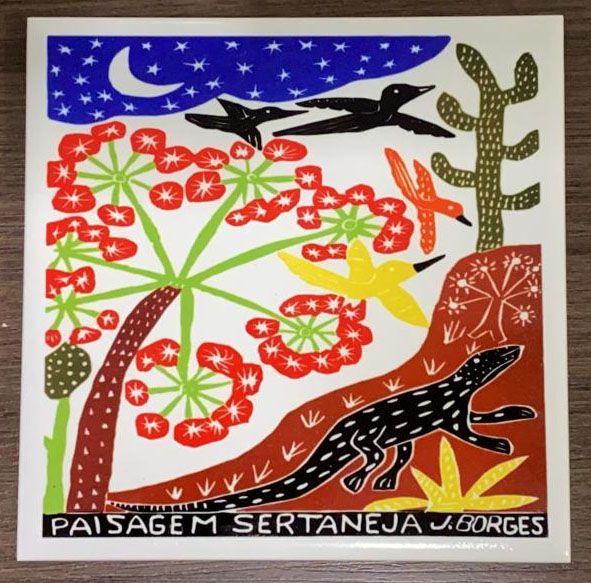 """Azulejo """"Paisagem Sertaneja"""" do J. Borges M - PE"""