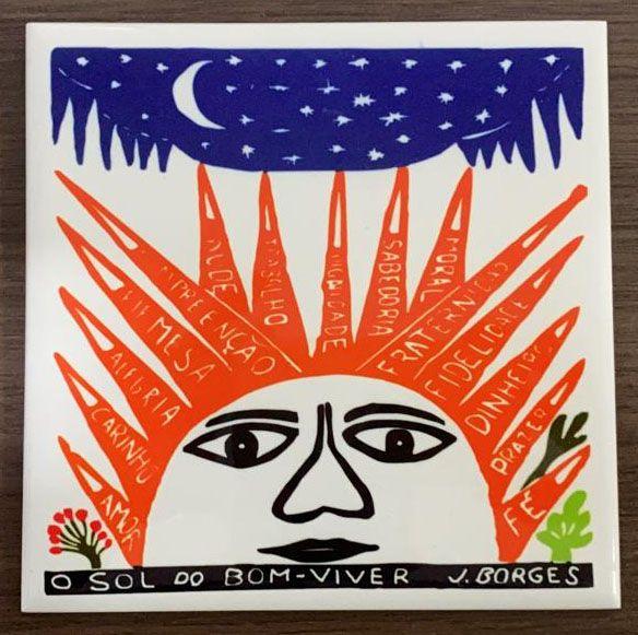 """Azulejo """"O Sol do Bom-Viver"""" do J. Borges M - PE"""