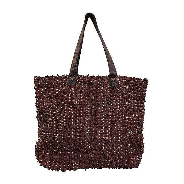 bolsa tear de tecido marrom com linha colorida de algodão - GO