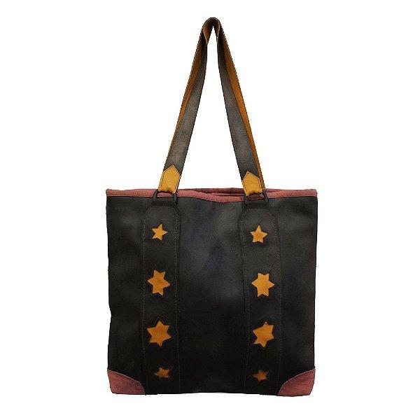 bolsa couro ecológico marrom detalhes de estrela  - AC