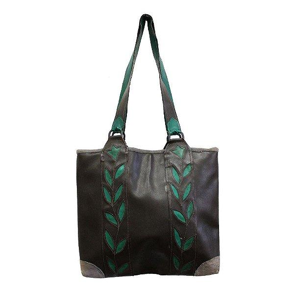bolsa couro ecológico marrom detalhes de folhas - AC