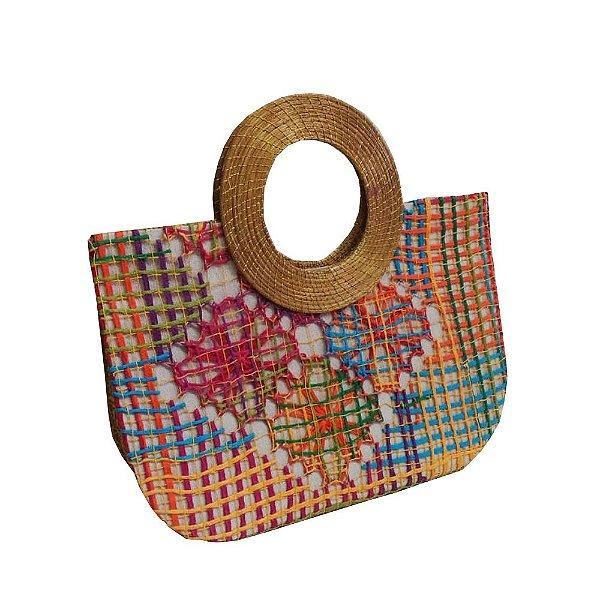bolsa de renda de renda de filé colorida e alça de capim dourado - AL