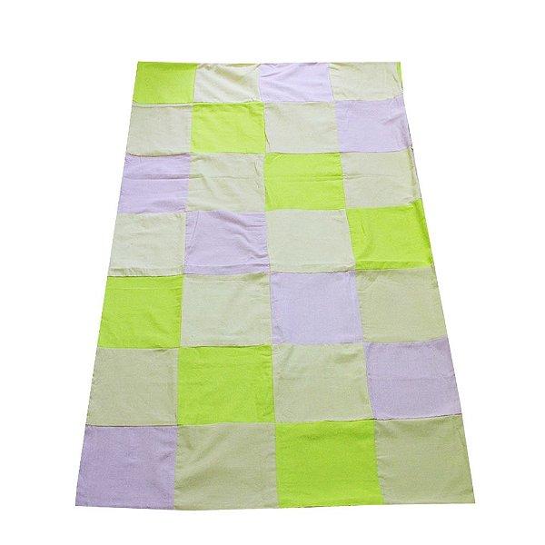 colcha casal retalhos roxo claro, verde limão e amarelo claro - CE