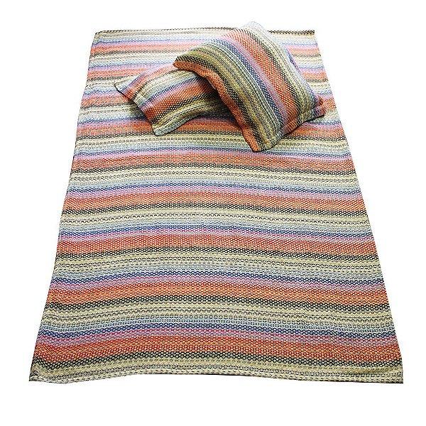 colcha queen colorida com 2 porta travesseiro   -MG