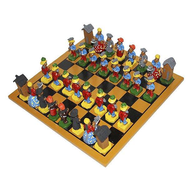 Jogo de Xadrez do Leonildo de Caruaru - Cores variadas - PE