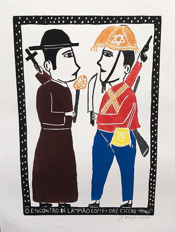 """Xilogravura """"O Encontro de Lampião com Padre Cícero"""" G - J. Borges - PE"""
