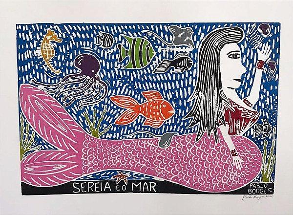 Xilogravura P. Borges Sereia e o Mar  G - PE