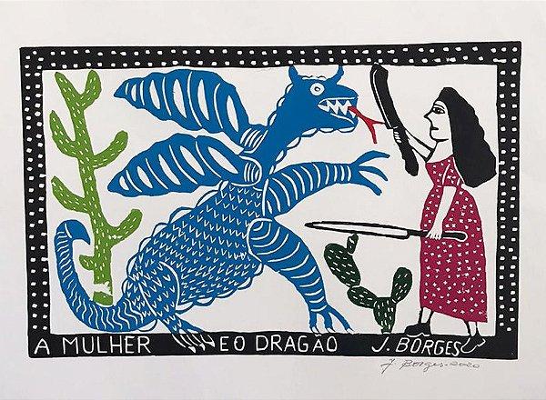 """Xilogravura """"A mulher e o Dragão"""" G -  J. Borges - PE"""