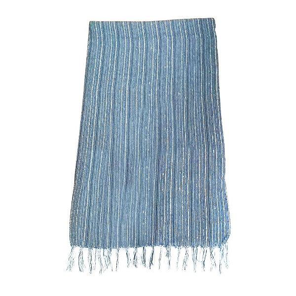 Manta de Tear Manual Azul e Branco 1,30 x 1,90 - MG