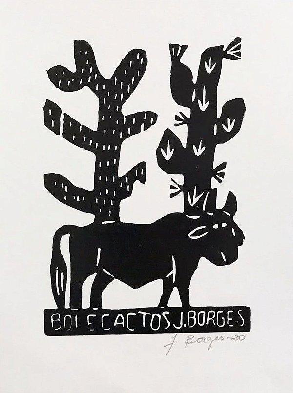 "Xilogravura ""Boi e Cactos"" P - J. Borges - PE"