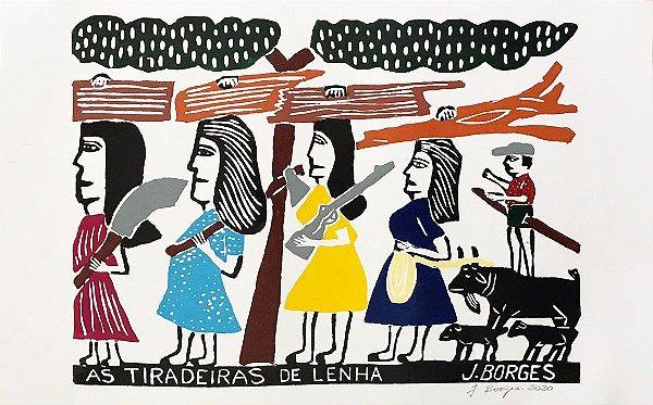 """Xilogravura """"As Tiradeiras de Lenha"""" G - J. Borges - PE"""