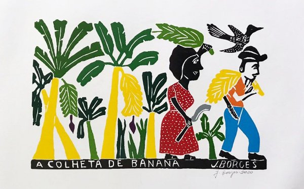 Xilogravura J. Borges A Colheita de Banana  G - PE