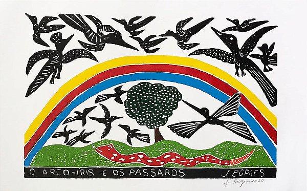 Xilogravura J. Borges O Arco-Íris e os Pássaros  G - PE
