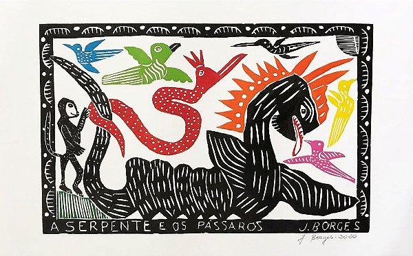 """Xilogravura """"A Serpente e os Pássaros"""" G - J. Borges - PE"""