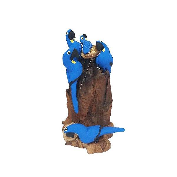 Tronco Com 4 araras azuis - MS