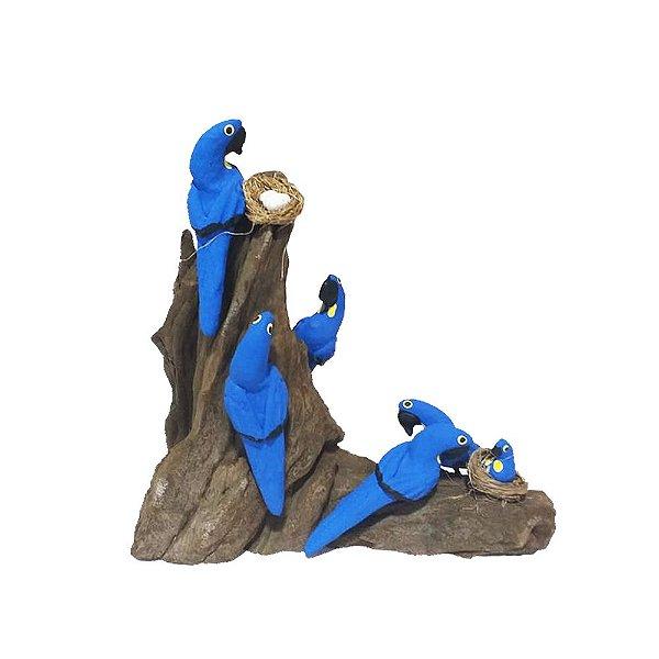 Tronco Com 6 araras azuis - MS