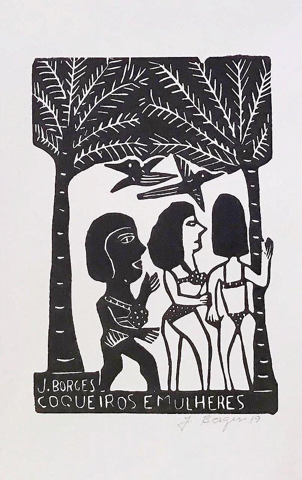 """Xilogravura """"Coqueiros e Mulheres"""" G - J. Borges - PE"""
