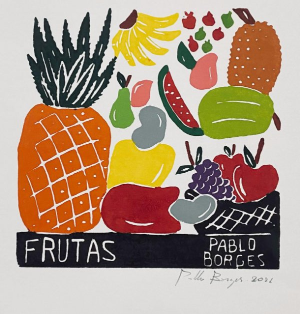 "Xilogravura ""Frutas"" P - Pablo Borges - PE"