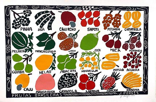 """Xilogravura """"Frutas Brasileiras"""" GG - J. Borges - PE"""