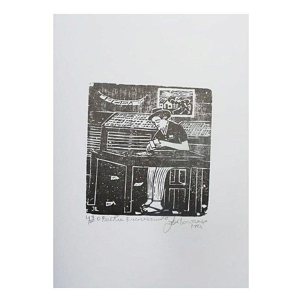 """Xilogravura """"Poeta Escrevendo"""" -  José Lourenço - Juazeiro do Norte CE"""