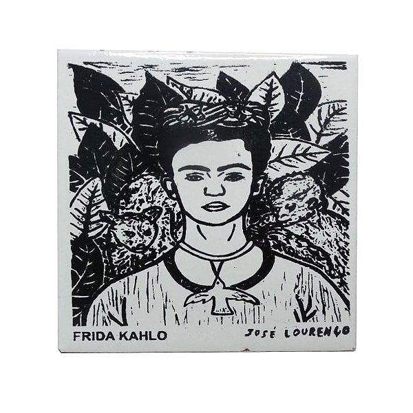 """Azulejo de Xilogravura """"Frida Kahlo"""" - José Lourenço - Juazeiro do Norte CE"""