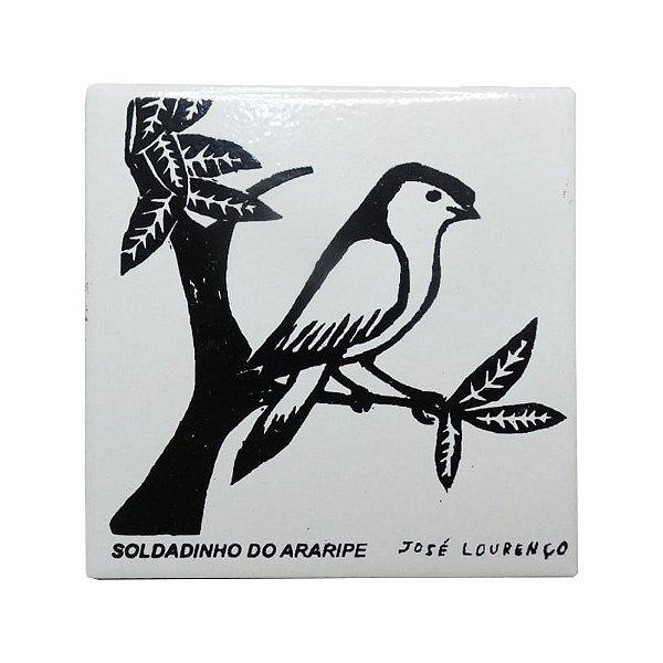 "Azulejo de Xilogravura ""Soldadinho de Araripe"" - José Lourenço - Juazeiro do Norte CE"