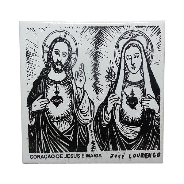 """Azulejo de Xilogravura """"Coração de Jesus e Maria"""" - José Lourenço - Juazeiro do Norte CE"""