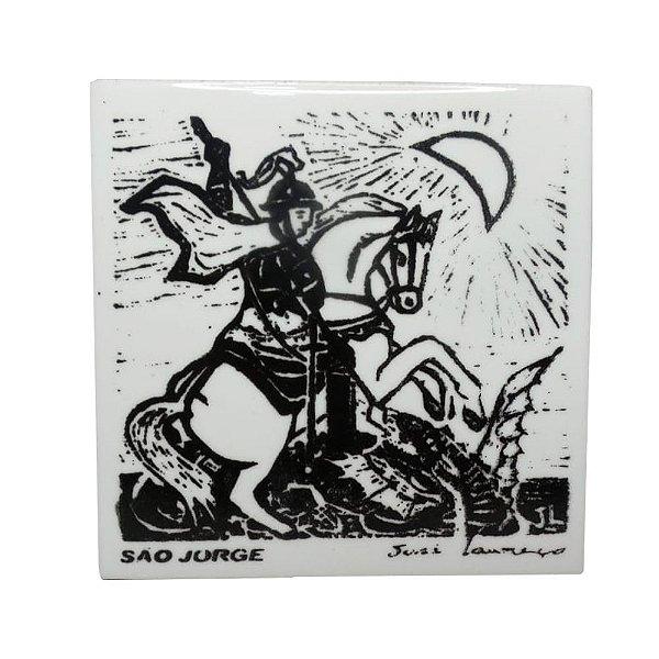 """Azulejo de Xilogravura """"São Jorge"""" - José Lourenço - Juazeiro do Norte CE"""