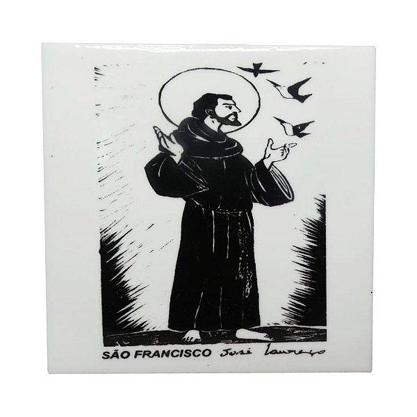 """Azulejo de Xilogravura """"São Francisco"""" - José Lourenço - Juazeiro do Norte CE"""