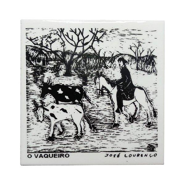 """Azulejo de Xilogravura """"O Vaqueiro"""" - José Lourenço - Juazeiro do Norte CE"""