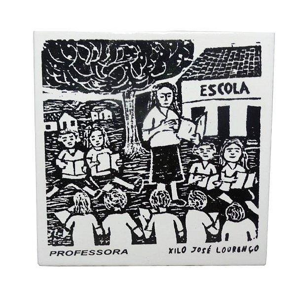 "Azulejo de Xilogravura ""Professora"" - José Lourenço - Juazeiro do Norte CE"
