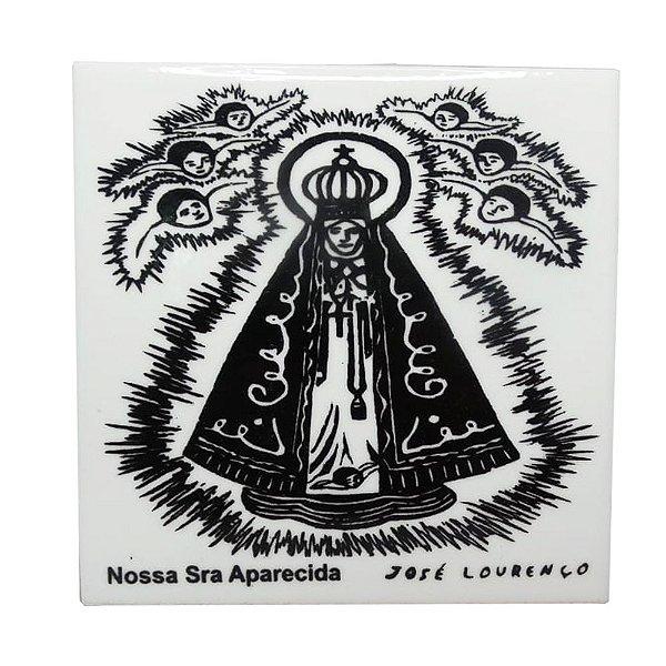 """Azulejo de Xilogravura """"Nossa Senhora Aparecida"""" - José Lourenço - Juazeiro do Norte CE"""